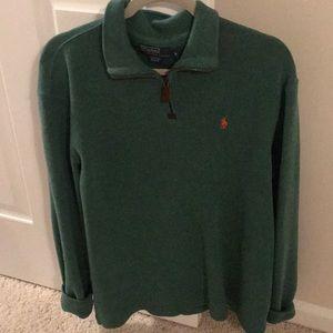 Ralph Lauren green quarter zip polo sweater